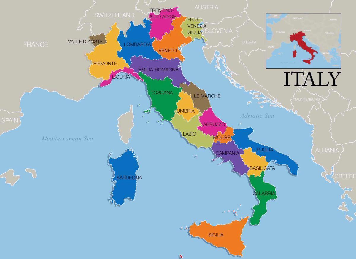Italie Carte De La Region Carte De L Italie Et Des Regions Le Sud De L Europe Europe