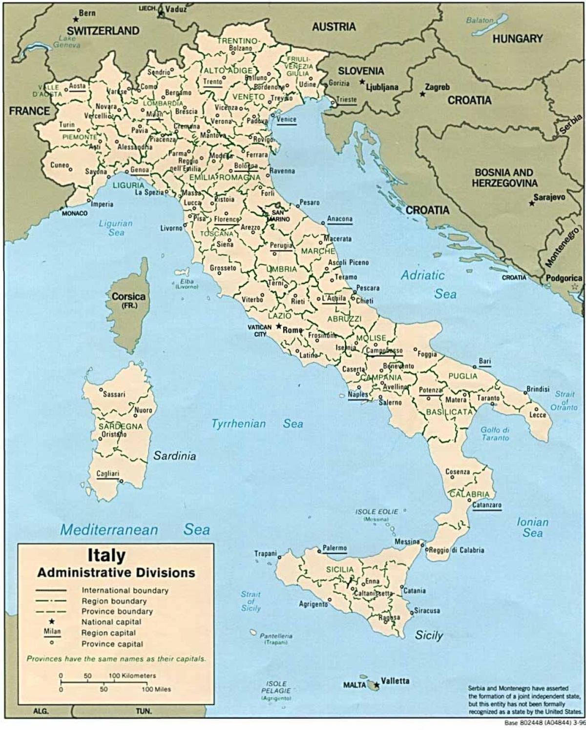 L'italie des cartes - voir la carte de l'Italie (Sud de l'Europe - Europe)
